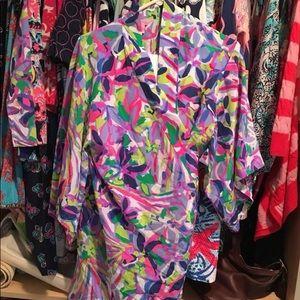 Lilly Pulitzer Palm Beach Silk Robe S/M